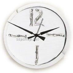 Clock with man - woman figures. Clock Decor, Women Figure, Large Clock, Large Women, Corporate Gifts, Clocks, Objects, Jewelry Design, Silver
