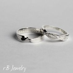 His and Her Promise Rings Couples Ring Personalized by JewelryRB