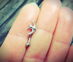 Sparrow Bird Eyebrow Ring Rook Ear Piercing or by MidnightsMojo, $8.00