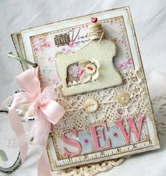 This sew mini album can be used as a template for a card.