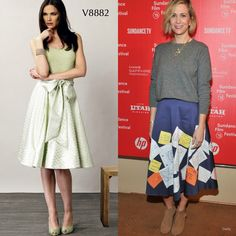 Sew the Look: Midi skirts are so fun to wear, especially when you sew them in a funky print like the Jane Austen letters print Kristen Wiig is wearing here. Try Vogue Patterns V8882.