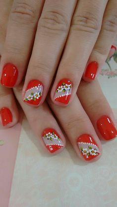 Flower Nail Designs, Flower Nail Art, Nail Art Designs, Red Nails, Hair And Nails, Cute Nails, Pretty Nails, Beautiful Nail Designs, Nagel Gel