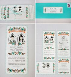 Caricature Illustrated Wedding Invitations #invite