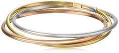 """14k Gold-Bonded Sterling Silver Tri-Color Interlocking Bangle Bracelets, 8"""""""