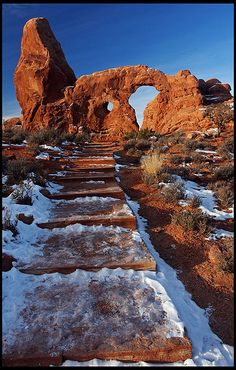 Turret Arch in winter - Arches National Park, Utah, USA