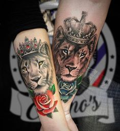 Matching tattoos are common especially with couples and act a way of showing their love. Persons sporting matching tattoos come closer to one another like never before. Below, we are going to mention matching lion tattoo designs and ideas. Body Art Tattoos, New Tattoos, Sleeve Tattoos, Sister Tattoos, Script Tattoos, Arabic Tattoos, Tattoo Drawings, Ring Tattoos, Lion And Lioness Tattoo