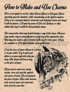 Book of Shadows Page - How to Make and use Charms - Wicca, Witchcraft Spells