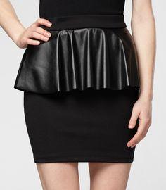 Pleather Peplum Pencil Skirt