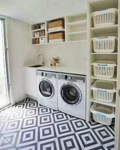 Laundry room storage ideas include installation of stock cabinetry, racks, shelves, etc. in a smart way to make the room look elegant and organized. room ideas organization 15 Perfect Small Laundry Room Storage Ideas To Consider 2 Modern Laundry Rooms, Laundry Room Layouts, Laundry Room Remodel, Laundry Room Cabinets, Farmhouse Laundry Room, Laundry Room Organization, Laundry Storage, Organization Ideas, Diy Cabinets
