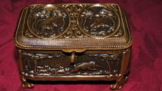 Antique-19th-Century-Brass-Repousse-Jewellery-Box