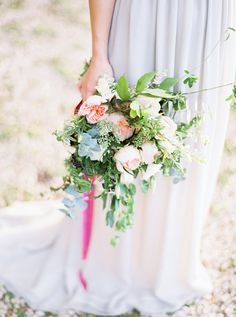 spring wedding bouquet - photo by Loft Photography http://ruffledblog.com/bride-la-boheme-2015-collection #weddingbouquet #bouquets