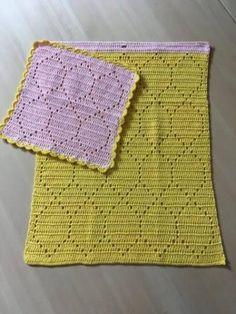"""Hæklet Håndklæde og karklud i """"Rombe"""" mix mønster, Hækle opskrift, gratis opskrift på hæklet karklud og håndklæde. Hækle karklude"""