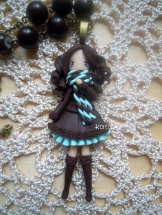 Cute polymer clay chibi winter girl by KatalinHandmade
