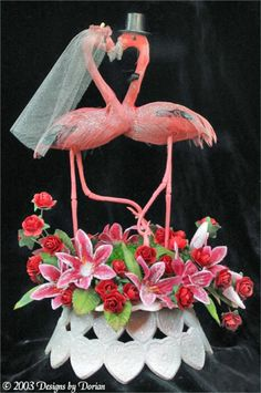 bride and groom flamingo-love love love this!!!