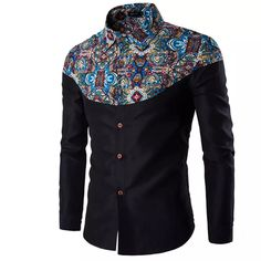 2017 Wholesale Men Shirt Luxury Brand 2017 Male Long Sleeve Shirts Casual Pattern Printing Fight Color Slim Fit Dress Shirts Mens Hawaiian Xxl From Cutee, $36.86 | Dhgate.Com