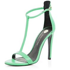River Island Green T bar barely there stiletto sandals (160 AED) ❤ liked on Polyvore featuring shoes, sandals, heels, high heels, sapatos, green, heels stilettos, green high heel shoes, stiletto heel sandals and stiletto sandals