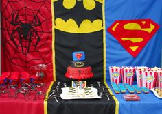 superhero party ideas | as you can see i broke the table into thirds