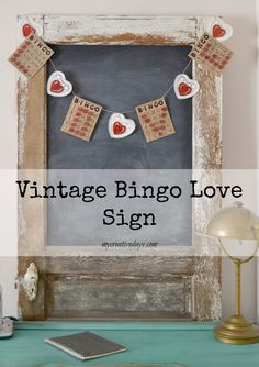 Vintage Bingo Love Sign on a chalkboard
