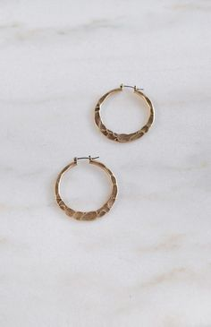 Hammered Hoop Earrings / hammered brass hoop earrings