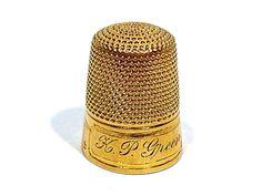 CARTER, GOUGH & CO. SOLID 14K GOLD SIZE 9 THIMBLE ~ ENGRAVED K. P. GREEN #CarterGoughCo