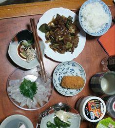 12月12日(金) 晴れ曇り 焼肉 海老コロッケ 鮃の刺身 キムチ 64
