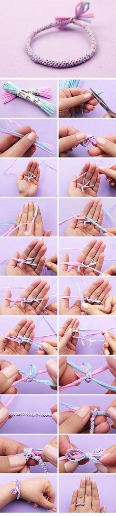 Armbänder selber machen mit Bast #armbänder #armband #DIY #anielasfimo #basteln…