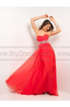 Empire Sweetheart Beading Chiffon Red Prom Dresses