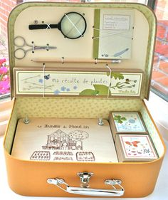 Botany Kit with flower press, magnifying glass, field journal, pencil, specimen collection boxes