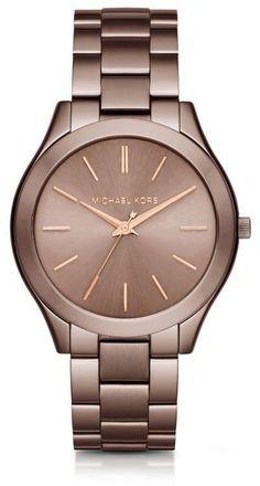 Michael Kors Slim Runway Sable and Rose Gold-Tone Watch