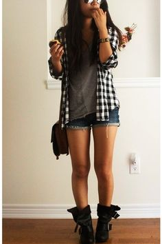 Flannel, t-shirt, shorts, boots. Love this look, can Someone plz get me some damn combat boots