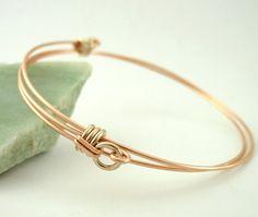 Bangle Bracelet 14kt Rose Gold Filled and 14kt White Gold Filled - Adjustable and Comfortable. $60.00, via Etsy.