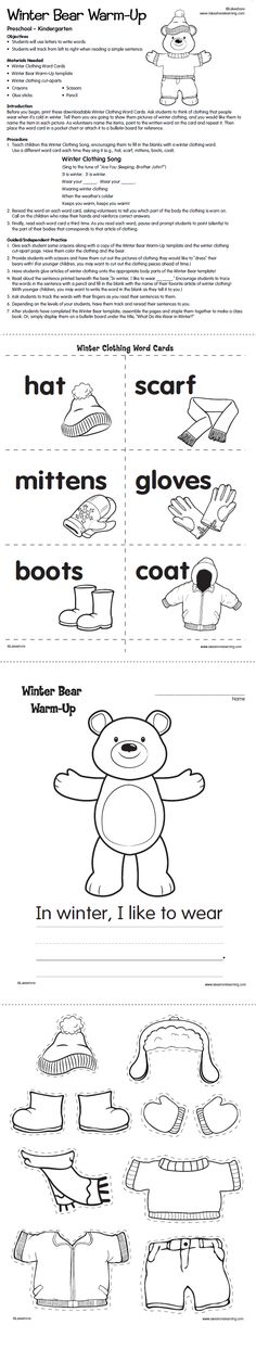 With this winter-themed lesson plan, preschoolers & kindergartners practice using letters to write words and tracking from left to right when reading a simple sentence!
