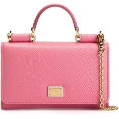 Dolce & Gabbana mini 'Von' wallet crossbody bag (2.700 BRL) ❤ liked on Polyvore featuring bags, handbags, shoulder bags, pink shoulder bag, pink cross body purse, mini crossbody, mini handbags and pink crossbody purse