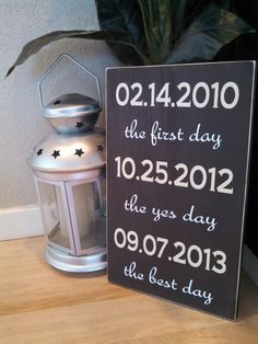 """14x11  Personalized First Date, Engagement, Wedding Day Date Wood Sign, """"The First day, the yes day.."""" Great Wedding Gift! on Etsy, $35.00"""