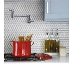 This image is about: Beautiful White Hexagon Tile Backsplash, and titled: White Hexagon Tile Wall Kitchen, with description: , also has the following tags: Backsplash Material,Hexagon Tile,Kitchen Backsplash,White Backsplash,White Hexagon, with the resolution: 700px x 609px