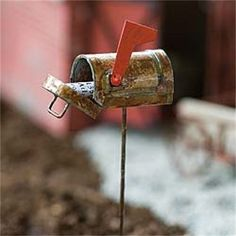 Miniature Dollhouse FAIRY GARDEN ~ Rustic Mailbox ~ NEW in Home & Garden, Home Décor, Figurines | eBay