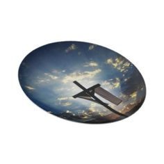 Easter cross image displayed on diner or collectable plate.
