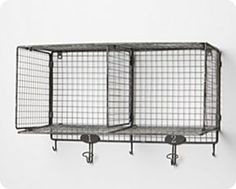 wire shelf with hooks are even better for storing kitchen towels and wash cloths! Wire Basket Shelves, Wire Storage Shelves, Locker Shelves, Hanging Wire Basket, Towel Storage, Crate Storage, Hanging Storage, Wire Baskets, Baskets On Wall