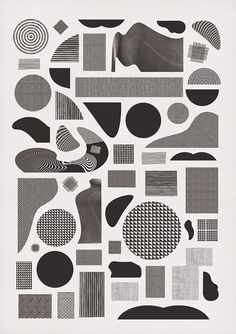 Pattern Alphabet. | momogoods.  Different textures and patterns contained confined within simple shapes - apply to simplifies sleep symbols? digital print.   photo-based and vector-based textures