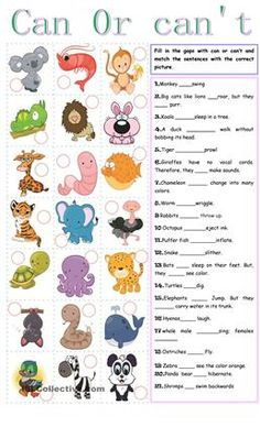 Students have to Fill in the gaps with can or can't and match the sentences with the correct picture. - ESL worksheets