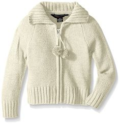 French Toast Girls' Pom Zip Front Cardigan with Lurex Yarn *** Additional info… Girls Sweaters, Whisper, Toddler Girls, French Toast, Men Sweater, Zip, Amazon, Medium, Awesome