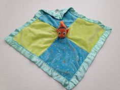 Disney Baby Finding Nemo Green Blue Patchwork Baby Security Blanket Satin Lovey #Disney