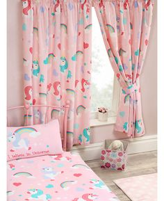 Unicorn And Rainbows Curtains Fairies Flowers In 2019