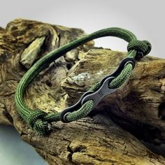 Paracord Bracelet in Green with Bike Chain Links. $10.00, via Etsy.