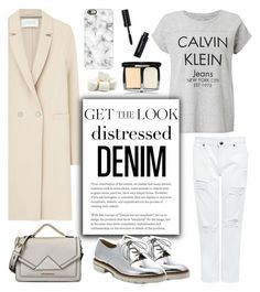 """Get The Look: Distressed Denim"" by glamorous09 ❤ liked on Polyvore featuring Harris Wharf London, Calvin Klein, Bomedo, Edit, Stuart Weitzman, Karl Lagerfeld, Bobbi Brown Cosmetics, Casetify and distresseddenim"