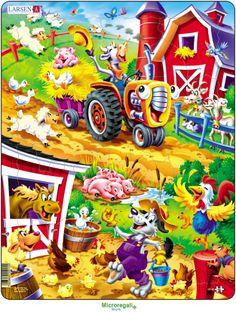 Puzzle per Bambini ANIMALI DELLA FATTORIA CARTOONS cm 36x28 (22 pezzi). Larsen. - Puzzle, Puzzle in Legno e Giganti - Regali per i BAMBINI