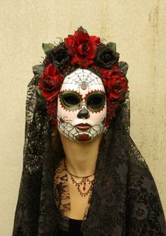 Viuda Negra Mask, Day of the Dead full faced mask with headdress, burnt silk roses, and trailing lace, Mexico Day Of The Dead, Day Of The Dead Mask, Day Of The Dead Party, Sugar Skull Makeup, Sugar Skull Art, Sugar Skulls, Black Hair Pieces, Spider Makeup, Paper Mache Mask
