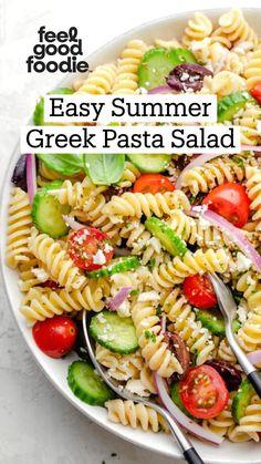 Vegetarian Recipes, Cooking Recipes, Healthy Recipes, Greek Salad Pasta, Easy Pasta Salad, Dips, Mediterranean Diet Recipes, Pasta Salad Recipes, Calories