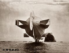 Luftschiff Zeppelin 3, July 1908, approaching its hangar on the Bodensee.