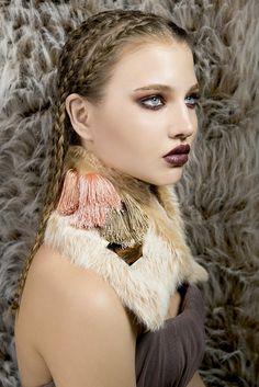 Peach Fur collar pastel rabbit fur orange beige cream viscose fringe pompom bronze mirrors NATIPUREIDEA